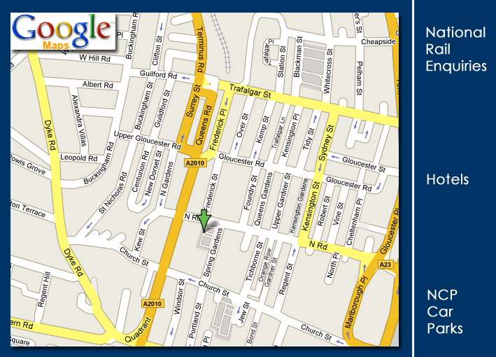 Find us on 44 North Road, Brighton.